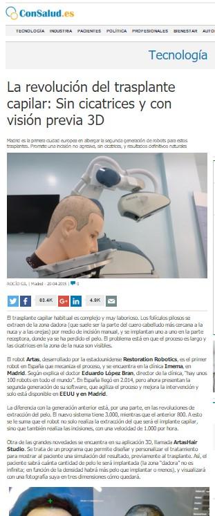 ConSalud DR. Lopez Bran trasplante de pelo robot artas