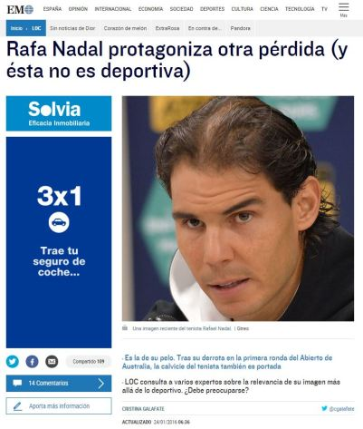 El Mundo - Rafa Nadal pérdida de pelo 1