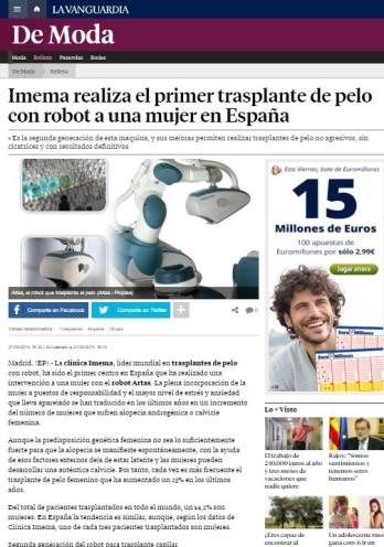 Clinica Imema realiza el primer trasplante de pelo con robot artas a un a mujer en España
