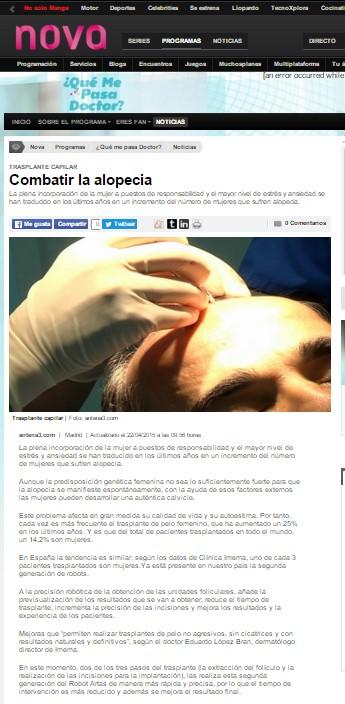 NOva Dr. LOpez Bran alopecia robot artas
