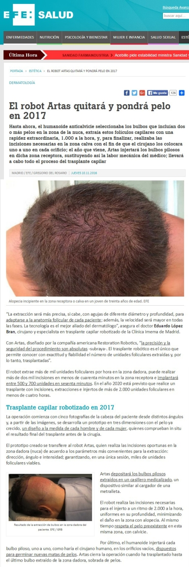trasplante de pelo con robot artas Dr. López Bran