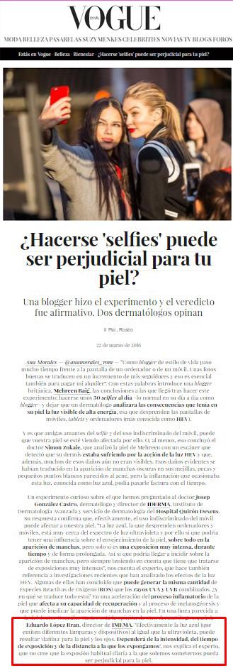 ¿hacerse selfies puede ser perjudicial para la piel? Opinión Eduardo López Bran