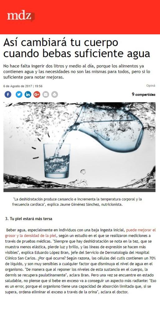 beber suficiente agua importante para la piel Dr. Lopez Bran